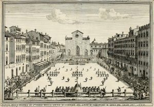 A match of Calcio Fiorentino played on Piazza Santa Croce in 1688; Wikipedia.org.