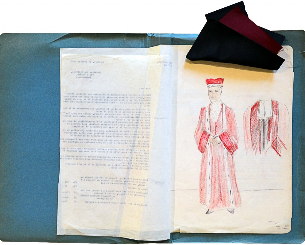 Designs for the Court's judge robes with samples, 1953
