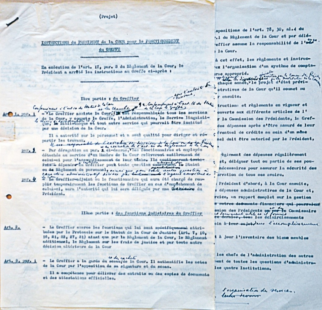 Draft note for the instructions of the Court's President on the functioning of the Registry, 1955