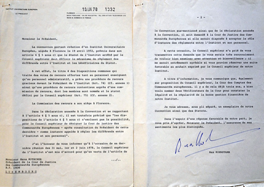 Letter of Max Kohnstamm, President of the EUI, to the President of the Court of Justice of the EC requesting the Court to become the settlement authority for disputes on personnel issues at the EUI, 19 July 1978