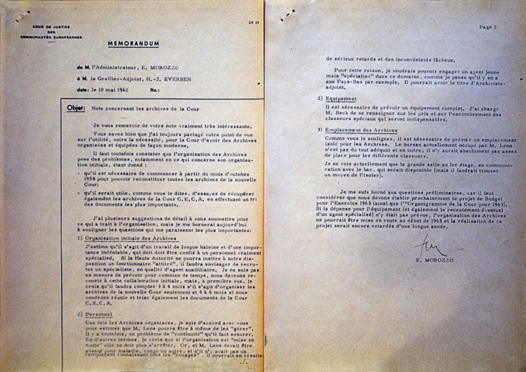Memorandum by the Court of Justice of the EC on its archives, 10 May 1962