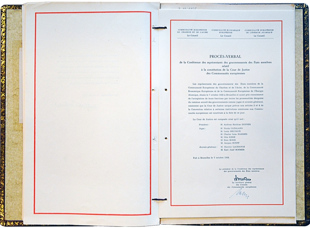 Minutes of the Conference of Representatives of the EC Member States on the constitution of the Court of Justice of the EC, 7 October 1958