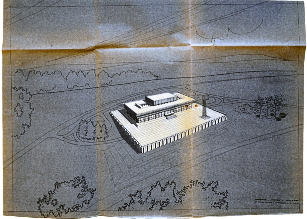 "Plan of ""The Palais"" designed by the architects Jamagne, Vander Elst and Conzemius, and inaugurated on 9 January 1973"