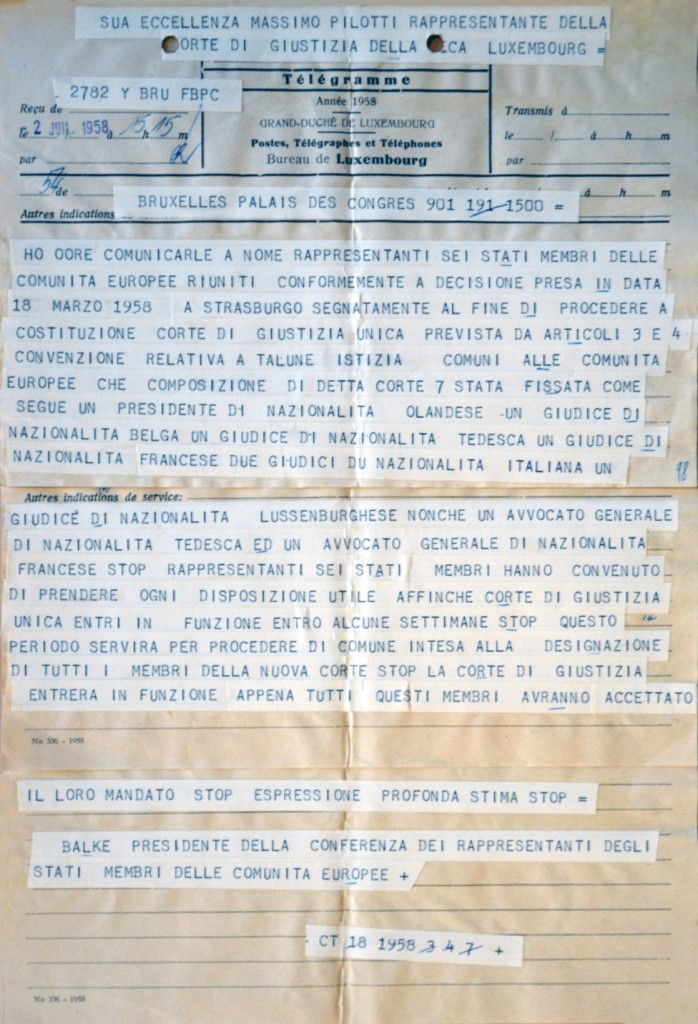 Telegram of the President of the Conference of Representatives of the EC Member States establishing that the Court of Justice of the EC replaced the Court of Justice of the ECSC, 2 July 1958