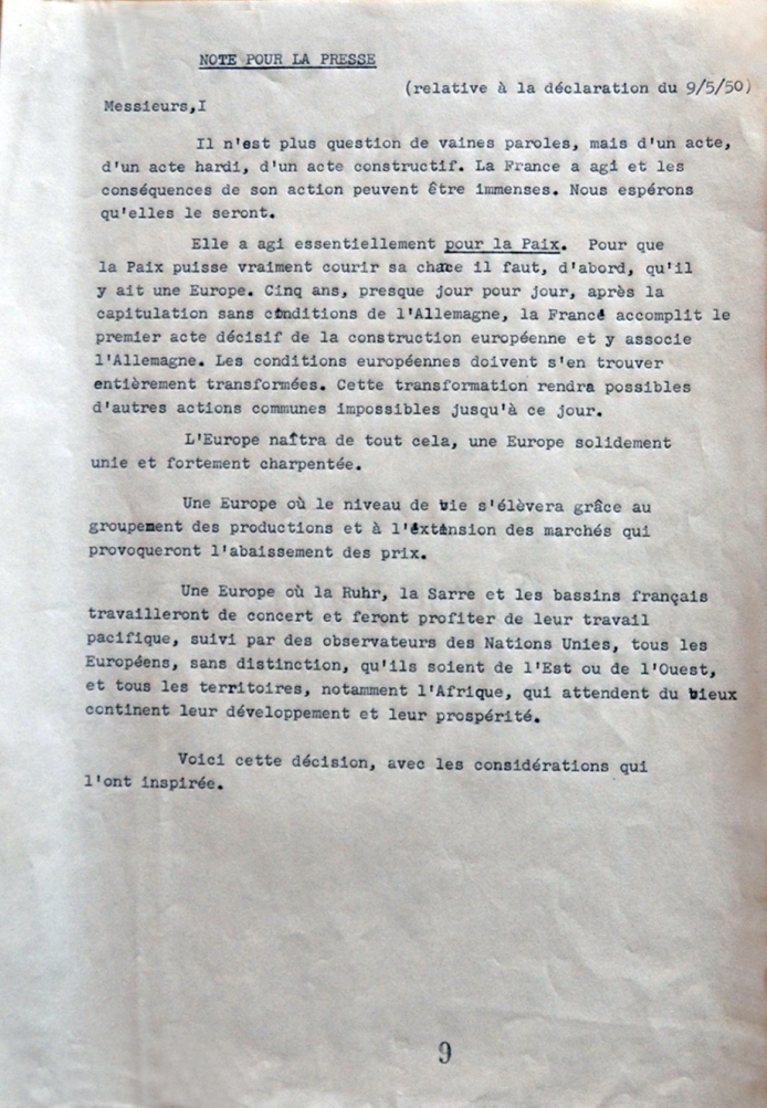 Text of joint communications sent by the governments of the countries participating in the Schuman Declaration