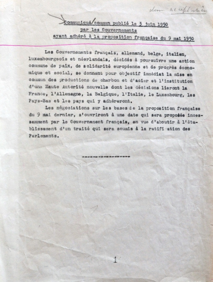 Text of joint communications sent by the governments of the countries participating in the Schuman Declaration2