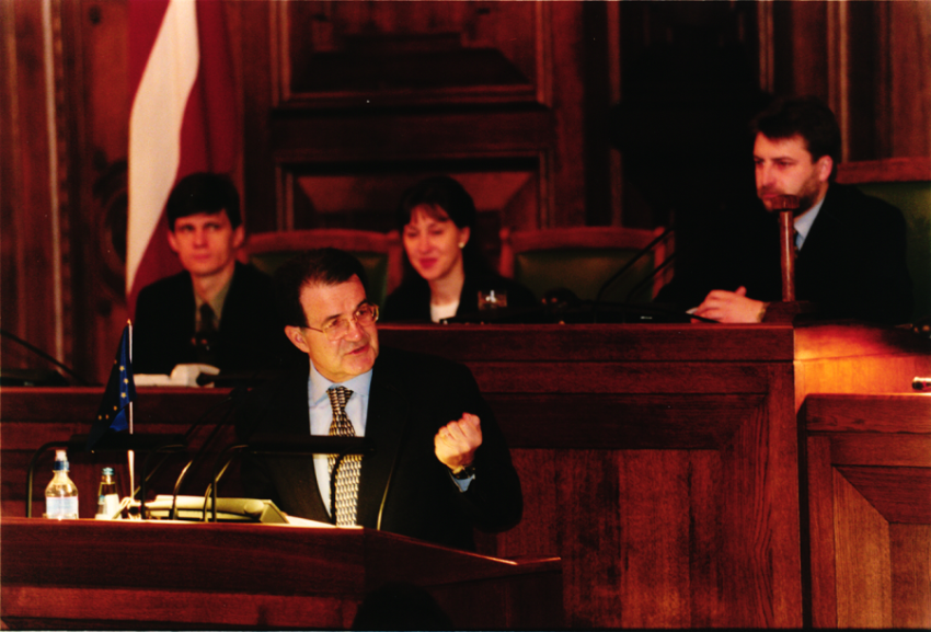 The President of the European Commission Romano Prodi addressing the plenary session of the Parliament about the strategy of the Republic of Latvia for integration into the European Union, Riga 9th February 2000 (HAEU, RP 492-29)