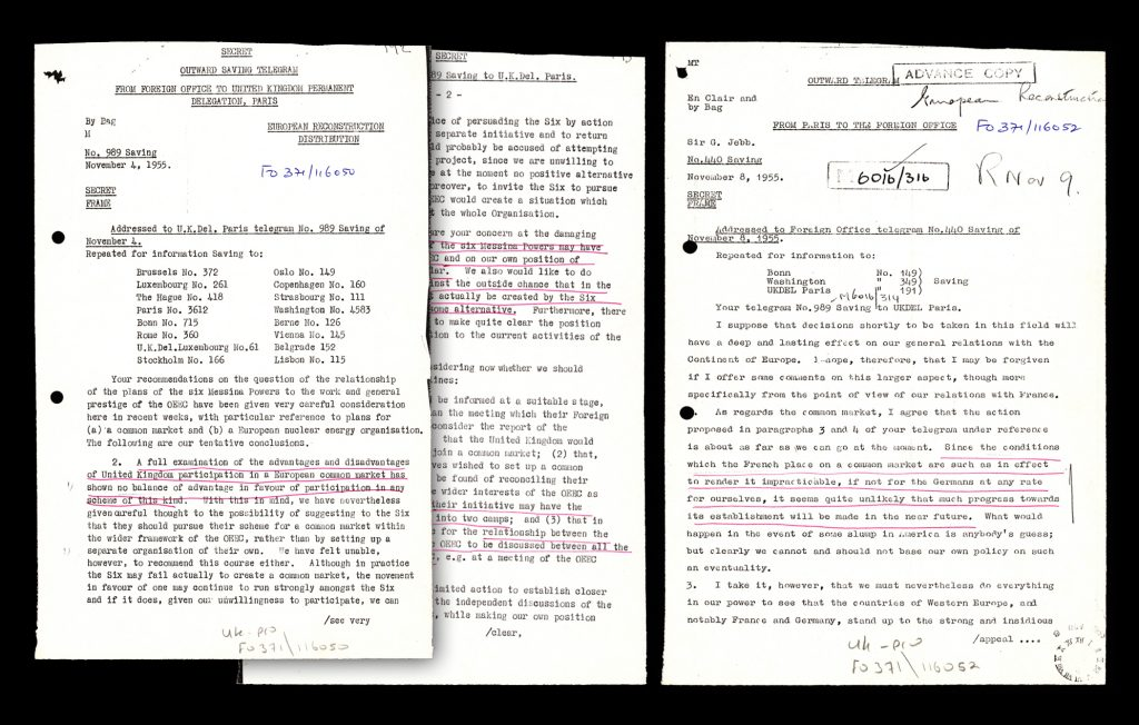 Telegrams between the permanent UK Delegation in Paris and the Foreign Office in London to Paris about Six Messina Powers and Common Market in 1955 (HAEU, JMDS/98)