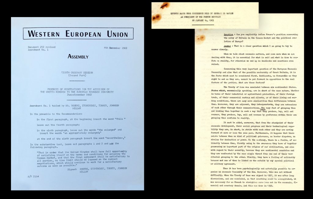 "Western European Union – Assembly 4th December 1962 ''Progress of Negotiations for the accession of the United Kingdom to the European Economic Community"" [WEU-12 (Vol 1)].  Conference by De Gaulle, President of the French Republic, with questions about his position of Britain entering the Common Market (HAEU, UWK-NS/5 (1)"