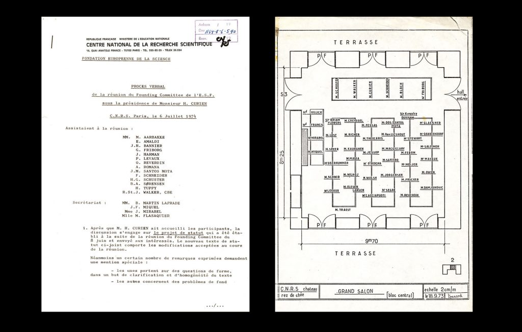 Minutes of the Founding Committee of the ESF, Paris 6 July 1974 (HAEU, ESF 26) and seating plan of the Preparatory Conference, Gif-sur-Yvette 24-25 September 1973 (HAEU, ESF 17)