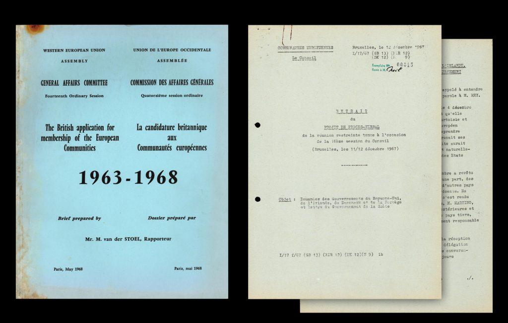"""British application for membership of the European Communities 1963-1968 [UWK-NS/5 (1)].  Reunion Counseil Communautés Européennes considering ''Demandes des Gouvernments du Royaume-Uni, Ireland and Denmark"""" (HAEU, EN-1863)"""