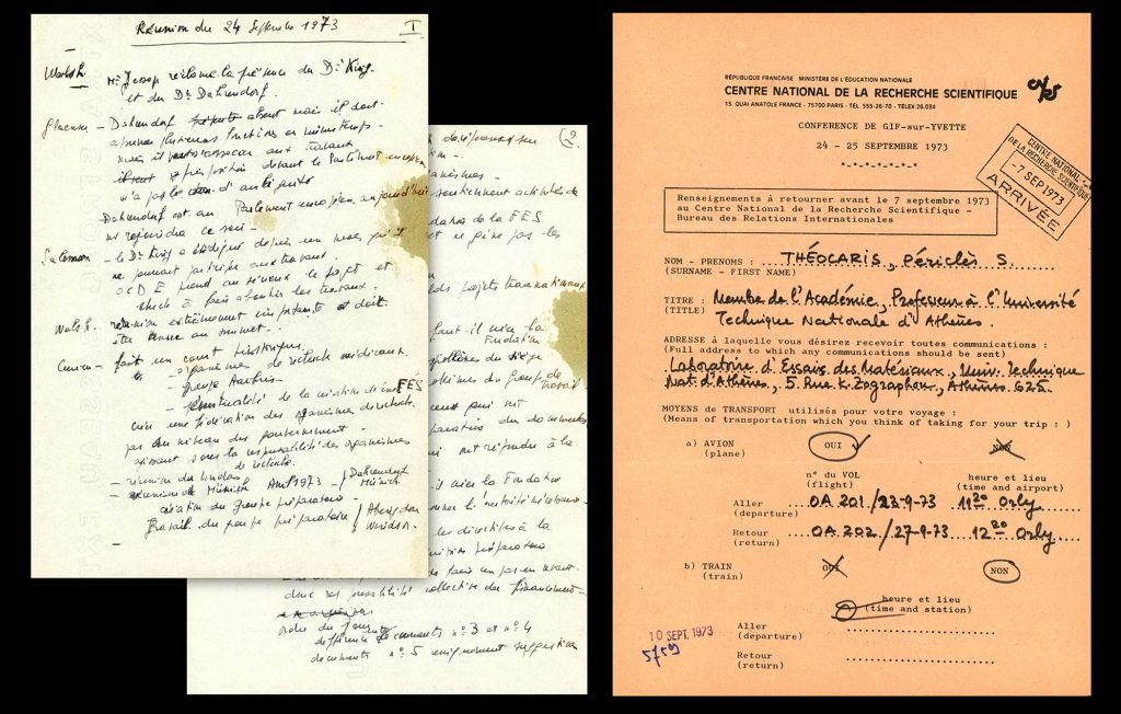 Handwritten minutes by the Secretary of the ESF, Monique Flasaquier, and registration form, both for the Preparatory Conference, Gif-sur-Yvette 24-25 September 1973, (HAEU, ESF 102)