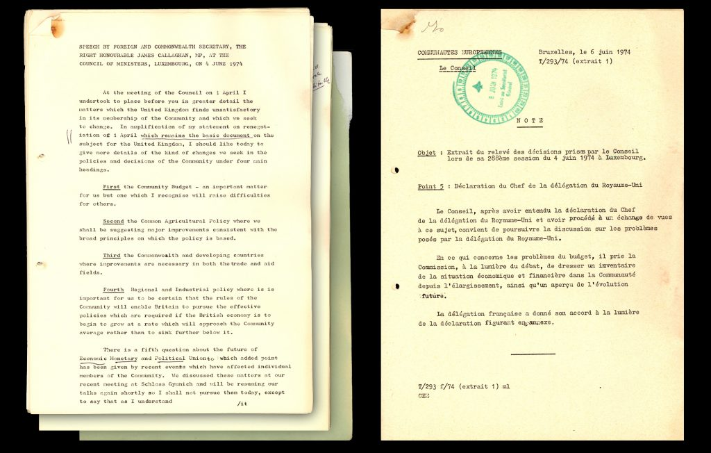 Speech by James Callahan to the Council of Ministers (4 June 1974) and a note from the Council considering his requests (6 June 1974) (HAEU, EN-1999)