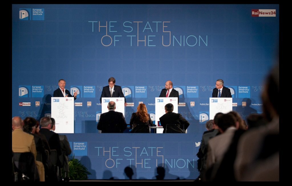 Candidates for the European Commission's presidency taking part in televised debate at the State of the Union in 2014 (European University Institute)