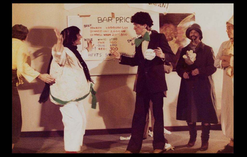 "Researchers taking part in their pantomime ""Snow White at the EUI"" in December 1980 (Anonymous / Ken Hulley's private collection)"