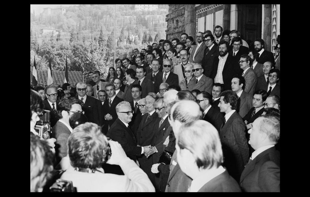 Arrival of the President of the Italian Republic, Giovanni Leone, to the official inauguration of the EUI in November 1976 (Unknown author / HAEU, EUI 659)