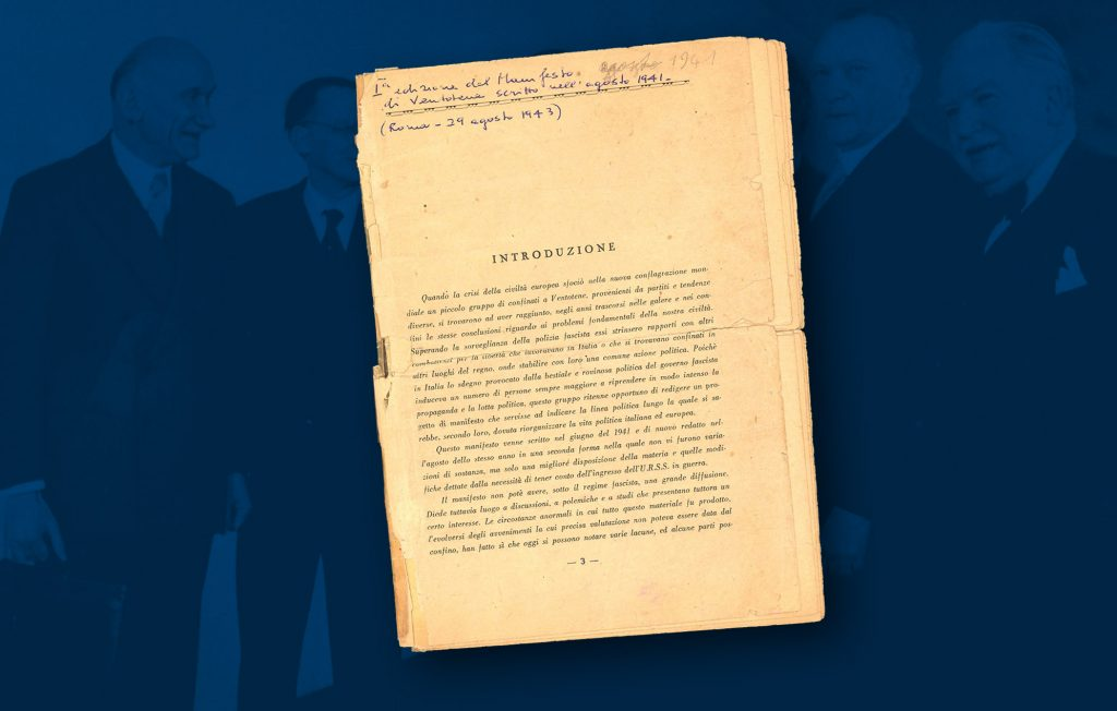 """First edition of """"Manifesto di Ventotene"""", the Manifesto for a free and united Europe was drawn up by Altiero Spinelli and Ernesto Rossi in 1941 (Historical Archives of the European Union, Florence - HAEU)"""