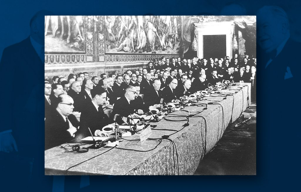 Signature of the Treaties establishing the EEC and EURATOM, Rome, 25 March 1957 (Archives of the Council of the European Union, Brussels-ACEU)