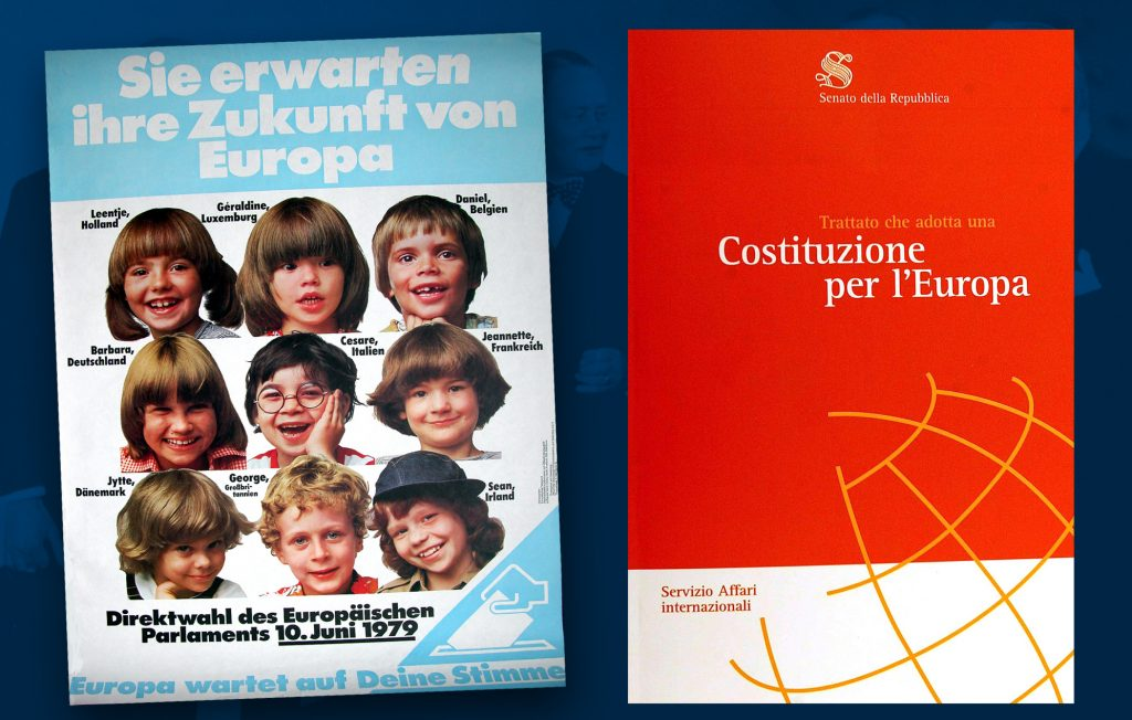 Information campaign organised by the European Parliament for the first direct elections held in June 1979 (HAEU) / Cover page of the Treaty establishing a Constitution for Europe, signed in Rome on 29 October 2004