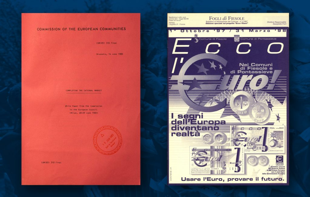 """Cover page of Commission """"white paper"""" on the internal market, published for the European Council of Milan (28 - 29 June 1985) (HAEU) / On 1 January 2002 the Euro became the European single currency, adopted by the Member States of the EU that had previously joined the Economic and Monetary Union (HAEU)"""