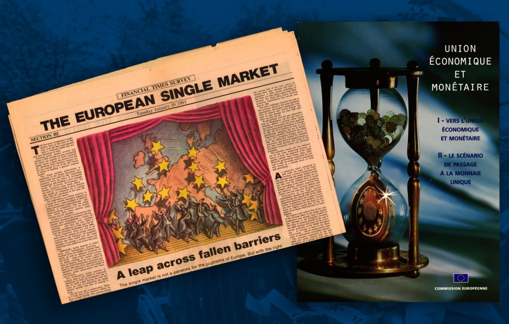 Financial Times article on the creation of the Single market (HAEU) / Information brochure on the Economic and Monetary Union published by the European Commission in 1996, on the eve of the introduction of the single currency (HAEU)