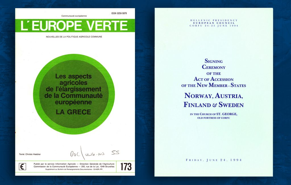 European Commission information document on various aspects of the Common Agricultural Policy following Greece's entry to the Community, on 1 January 1981 (HAEU) / On the 24 June 1994, Austria, Finland, Sweden and Norway signed the EU Accession Treaty. However, Norwegian membership was rejected in a subsequent national referendum. The other three candidates became full members on 1 January 1995 (HAEU)