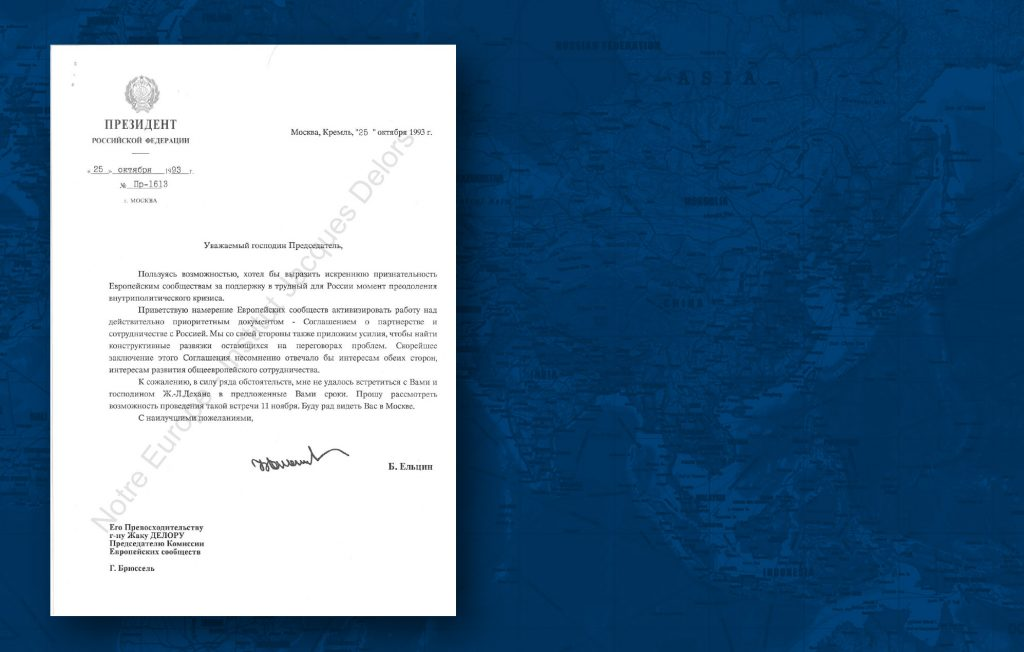 After the fall of the Berlin Wall, the EEC became a bench mark for those countries involved in the delicate transition to the post-Communist era. In this letter, the President of the Russian Federation, Boris Yeltsin, expresses his gratitude to Jacques Delors for the humanitarian aid provided by the EU (HAEU)
