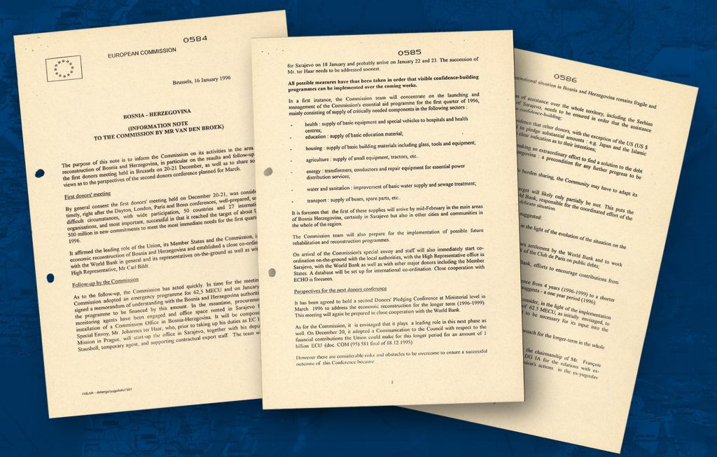 Information note, dated 16 January 1996, on the role played by the EU in Bosnia Herzegovina in the aftermath of the Dayton Agreement (1995) that brought an end to the conflict in former Yugoslavia. After the inauguration of the Common Foreign and Security Policy, the EU became a major player in the field of humanitarian assistance in war zones (HAEU)