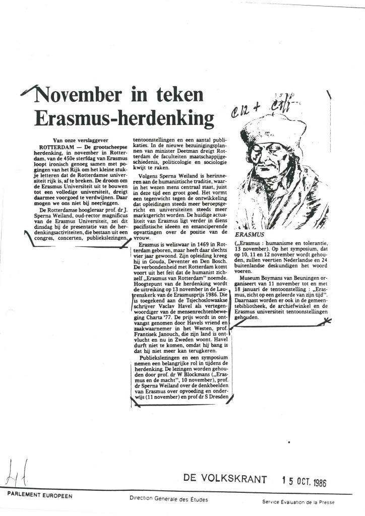 Article on Erasmus, 'De Volkskrant' from October 15th 1986 (HAEU, CPPE 932)