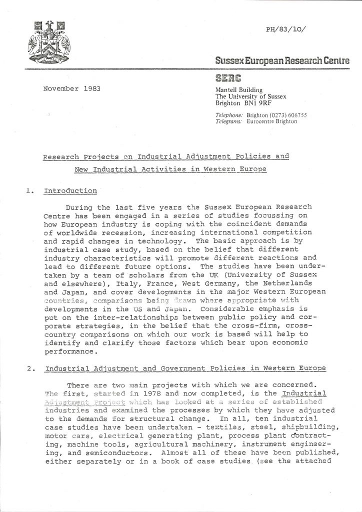 Memorandum from the Sussex European Research Centre concerning an international research study on European industry from November 1983 (HAEU, UACES 49).