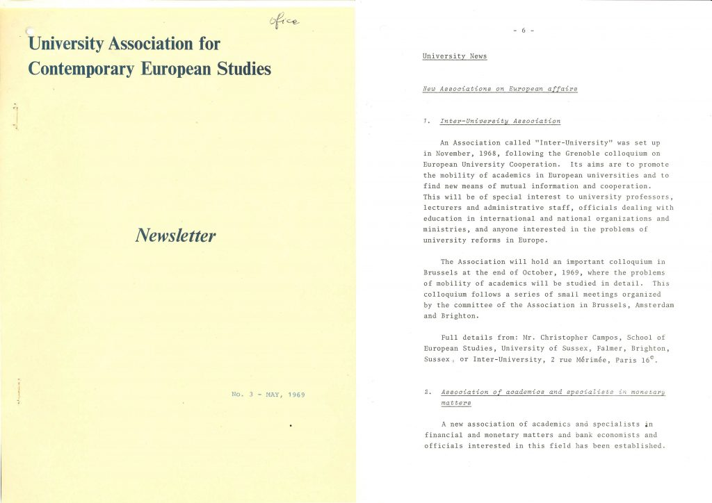 An UACES newsletter from May 3rd 1969 (HAEU, UACES 50).