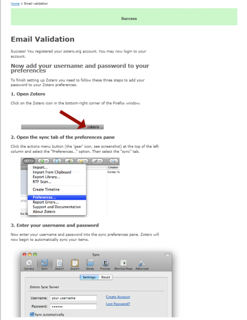 Image 3: Zotero account validation successful